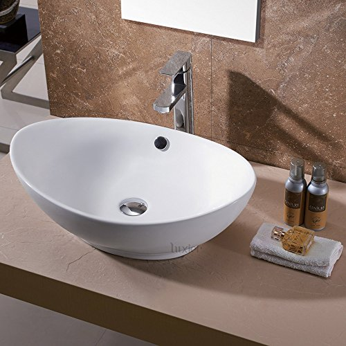 Vessel Vanity Sink - Luxier CS-004 Bathroom Egg Porcelain Ceramic Vessel Vanity Sink Art Basin