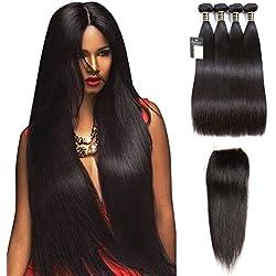 "Puddinghair Straight Unprocessed Virgin Brazilian Hair 4 Bundles with Lace Closure 100% Human Hair Bundles (12""14""16""18""+Closure12"",Free Part)"