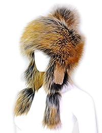 Futrzane Faux Fox Fur Winter Trapper Hat Women Russian Style Hat