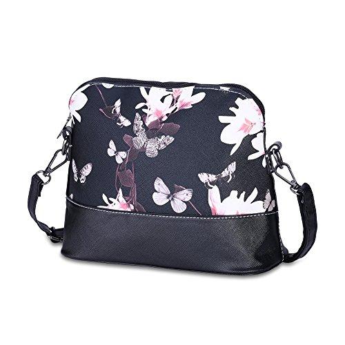 Women PU Leather Floral Print Shoulder Bag (Black) - 8