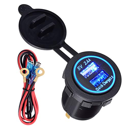 YonHan Quick Charge 3.0 Dual USB Fast Charger Socket, Waterproof Power Outlet QC 3.0 & 2.4A with LED Indicator & Wire Fuse DIY Kit for 12/24V Marine Boat Motorcycle ATV Bus Truck Golf Cart and More