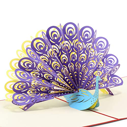 Paper Spiritz Peacock, Pop up Cards Birthday, Mother'S Day Card, 3D Thank You Cards all Occasion, Anniversary for Mommy kids Wife Husband, Handmade Gift Cards -