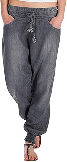Qiangjinjiu 女性ソリッドカラーファッションハーレム弾性ウエストルーズドローストリングジーンズデニムパンツ Blue Medium