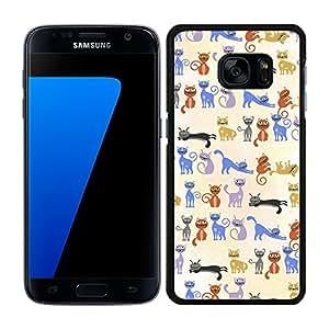 funda carcasa para Samsung Galaxy S7 estampado gato gatos borde negro