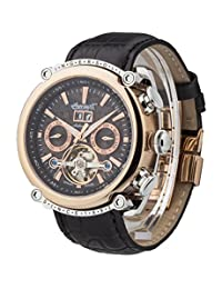 """Ingersoll Men's IN6909RBK """"Las Vegas"""" Stainless Steel Watch with Black Leather Band"""