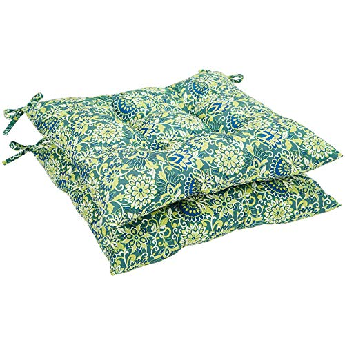 Seat Patio Cushion, Set of 2- Blue Floral ()