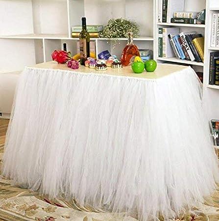 Haperlare - Falda de Mesa de Tul Blanco de 90 cm para decoración ...