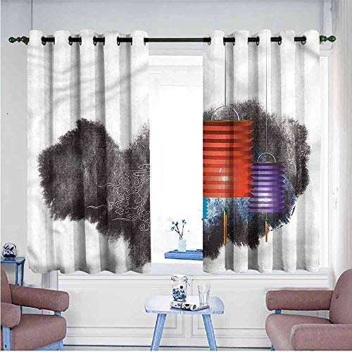 Mdxizc Thermal Insulated Drapes for Kitchen/Bedroom Lantern Mid Autumn Festival Printing Insulation W72 xL63 Suitable for Bedroom,Living,Room,Study, etc. ()