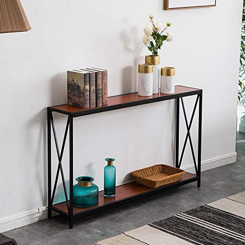 Miyahome 2 Tier X Design Console Table, Wood Sofa Side Table with Storage Shelf Entry Hall Table Accent Table Bookshelf Bookcase Furniture for Living Room Entryway, 47.3 9 29 inches, Reddish Brown
