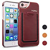 iPhone 7 Case, TORU [Tasca] Premium Genuine Leather Wallet Case with [Card Slot][Pull Up Tab][Metallic Edges] for iPhone 7 [fits iPhone 6S/6] - Burgundy
