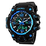 Jelercy Boy Dual Dial Analog Digital Watch 5 ATM 50M Waterproof Shock Oversized Face Running Sports Watches for Men,Blue