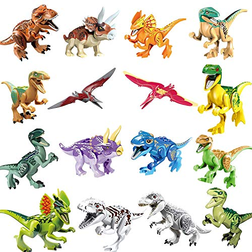 Animals & Dinosaurs Dinosaur Building Blocks 12pcs Movable Head Mouth And Hands Dinosaur Play Figure