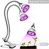 heat lamp for indoor gardening - Upgraded Version Dual-lamp Grow Light -Aotson 15W 80LEDs Plant Light Grow Lamp Lights with 360 Degree Flexible Gooseneck for Indoor Plants Hydroponics Greenhouse Gardening Seedlings Potted Plant