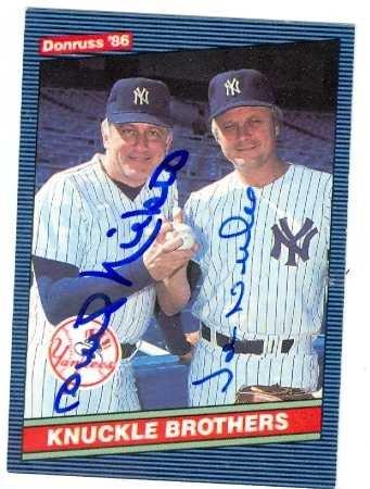 Autograph 125750 New York Yankees 1986 Donruss No. 645 Knuckle Brothers Joe Niekro & Phil Niekro Autographed Baseball ()