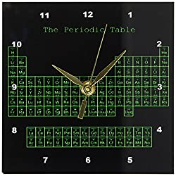 3dRose dc_76646_1 Neon Green on Black Periodic Table-Retro Computer Programmer Style-Science Chemistry Physics-Desk Clock, 6 by 6-Inch