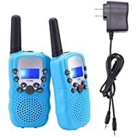 Rechargeable T-388 FRS/GMRS Kids Walkie Talkies 22 Channel 2 Way Radios(Blue, 1 Pair)