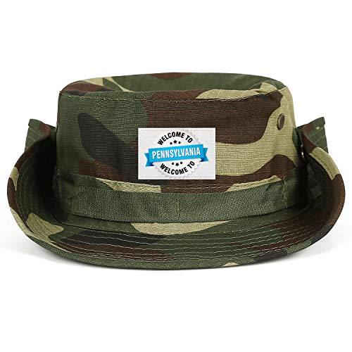 Ribbon Safari Hat - UnisexWomensLow Fishing Hat Made-in-Pennsylvania-Silver-Badge-with-Blue-Ribbon- Safari Runing Sun Hat