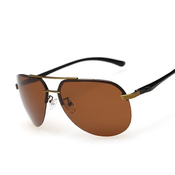 Lunettes de soleil pour homme/ polarisant coloré/Miroir grenouille/Lunettes de soleil avec grand cadre/ half-frame lunettes de soleil/Miroirs de conduite-A nHUCB