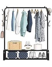 ACCSTORE Klädställ torkställ fristående hängare sovrum klädhängare med 2 nivåer lägre förvaringshylla och sidokrokar, svart