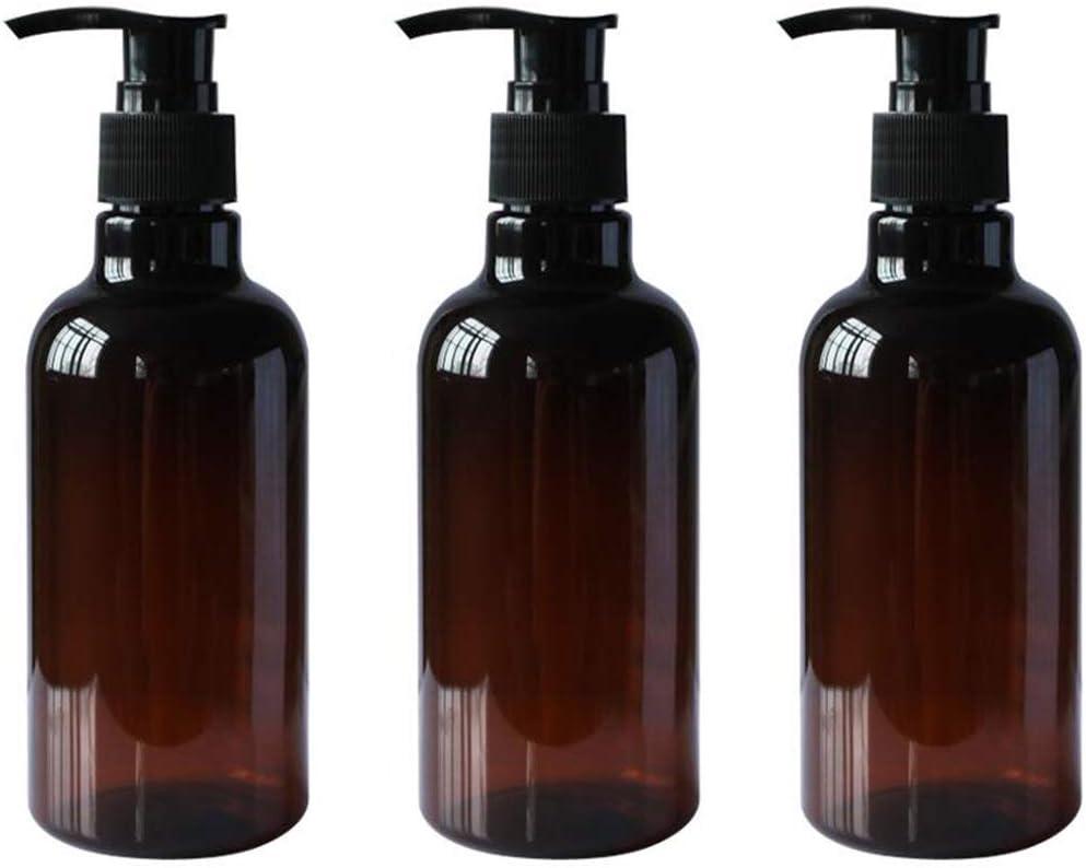 3PCS 8OZ Botellas plásticas de Pet marrón de Repuesto con Bomba Negra Champú Superior Frascos Gel Ducha Contenedores Almacenamiento Dispensadores para Maquillaje Cosméticos Artículos Aseo líquidos