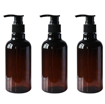 3PCS 8OZ Botellas plásticas de PET marrón de repuesto con bomba negra Champú superior Frascos gel