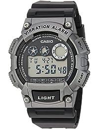 Casio Men's 'Super Illuminator' Quartz Resin Casual Watch, Color: Black (Model: W735H-1A3V)