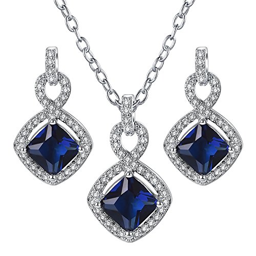 - Yoursfs Simulated Sapphire Jewelry Set Halo CZ Rhinestones Square Pendant Necklace Dangle Earrings Mothers Gift