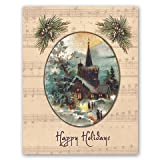 Happy Holidays - Box Set of 12 Christmas Greeting Cards and matching patterned envelops
