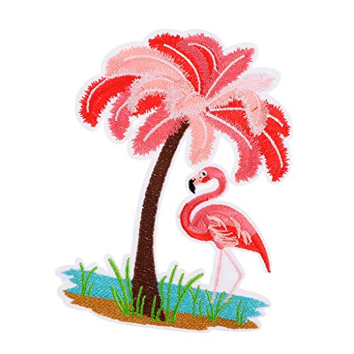 Prettyia Tropical Flamingo Applique Clothing Embroidery Patch Sticker Iron Sew Cloth DIY