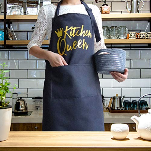 BJYHIYH Polyester Cotton Aprons with Pockets Baking Cooking Kitchen Apron for Women (Grey)