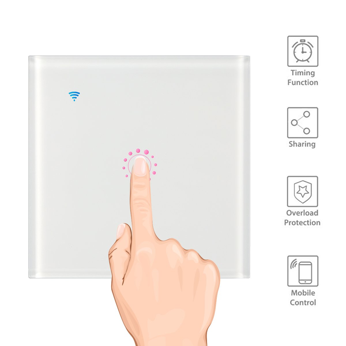 3 Gang Konesky Interruptor de Pared Tactil,Smart Dimmer Switch con Control Remoto,Compatible con  Alexa Interruptor WIFI 1 Gang Google Home,2200W