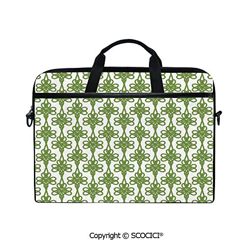 Printed Laptop Bags Notebook Bag Covers Cases Entangled Clover Leaves Twigs Celtic Pattern Botanical Filigree Inspired Retro Tile Decorative with Adjustable Strip and Zipper Closure