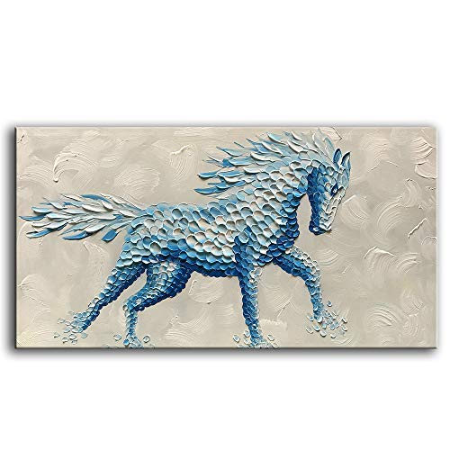 Artwork Horse - YaSheng Art -Animal Oil Painting on Canvas Texture 3D Horse Paintings Modern Home Sitting Living Room Decor Abstract Artwork Picture Canvas Wall Art. Framed Ready to Hang 24x48inch