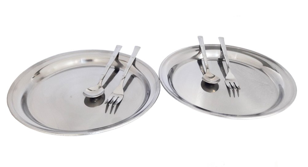 "Set of 2 Stainless steel 6.7"" Dessert Round Flat Plate Dish with Fork and Spoon"