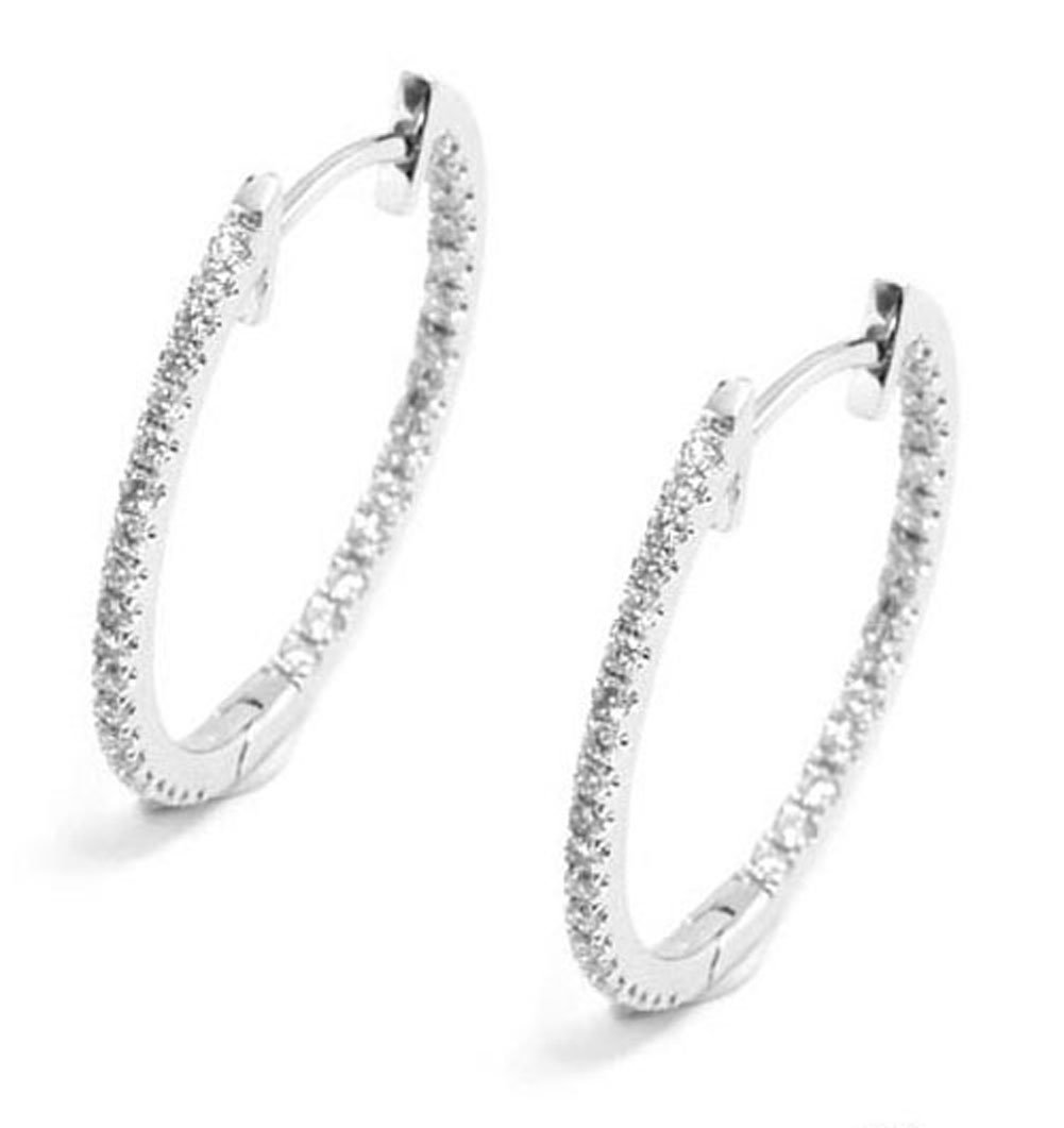 10k Rhodium-Plated White Gold Diamond Inside-Out Hoop Earrings (I-J, I2-I3) by Instagems