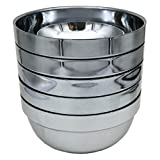 RushGo 5 pcs Stainless Steel Bowls Brushed Double-walled Insulated Bowl Sets