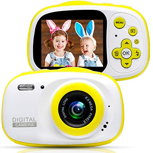 Kids Waterproof Digital Camera with 16GB Cards, Cameras Great Gift Mini Child Camcorder for Kids Support MP3, MP4 with 2.0 Inch HD IPS Screen, Yellow