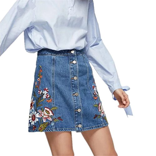 (NNVMM New Embroidery Half Skirt Floral Embroidered A-Line Denim Skirt Blue S)