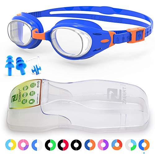 ZABERT Kids Swim Goggles, K3 Blue Orange Clear Lens Swimming Goggles for Kids Toddler Youth Girls Boys Junior Jr Childrens Child Little Age 4 5 6 7 8 9 10 11 12 13 14 Years Old - Anti Fog Indoor
