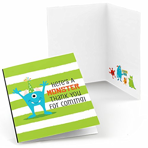 Big Dot of Happiness Monster Bash - Little Monster Birthday Party or Baby Shower Thank You Cards (8 Count)