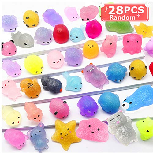 Qvatox Squishy Mochi Animal Glitter Squeeze Toy 2nd Generation Mini Glitter Squishies Kawaii Toys for Kids 28pcs Random