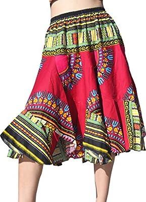 Raan Pah Muang Carved Patch Dashiki Print Short Capri Elastic Waist Dancing Skirt