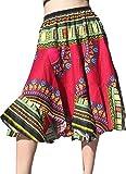 Raan Pah Muang RaanPahMuang Carved Patch Dashiki Print Short Capri Elastic Waist Dancing Skirt, X-Large, Dark Venetian Red