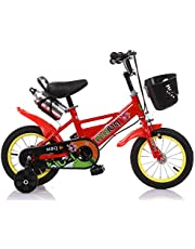 """MAIBQ Children's Bike with Training Wheels, Water Bottle and front Basket 16"""", Red, Size S"""