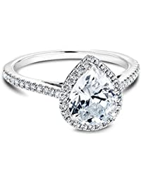 Platinum Plated Teardrop CZ Solitaire Engagement Ring in Sterling Silver Size 5-9