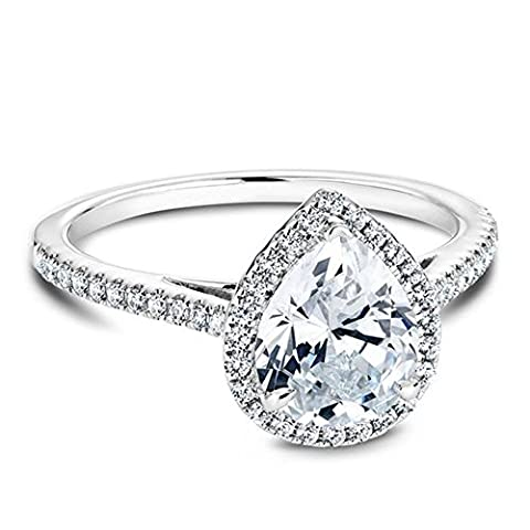 Platinum Plated Teardrop CZ Solitaire Engagement Ring in Sterling Silver Size 5 - Sterling Silver Engagement Plated Ring