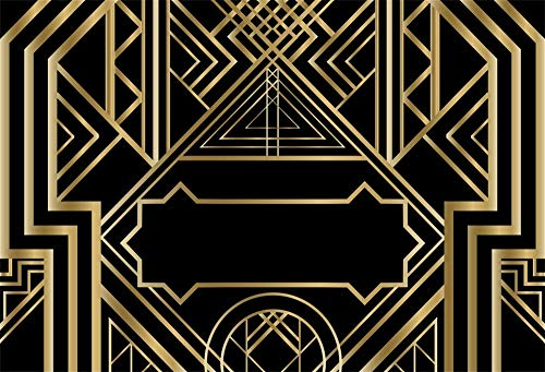(Laeacco Art Deco Vintage Pattern Background 10x6.5ft Photography Background Golden Abstract Geometric 3D Ornament Modern Style Backdrops Wedding Parties Black)