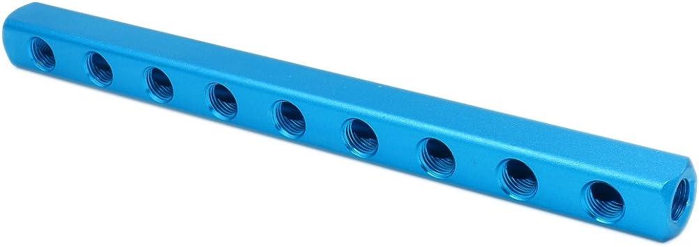 """G 1//4/"""" 12 Ports 9 Ways Quick Connect Air Hose Aluminum Vacuum Manifold Block"""