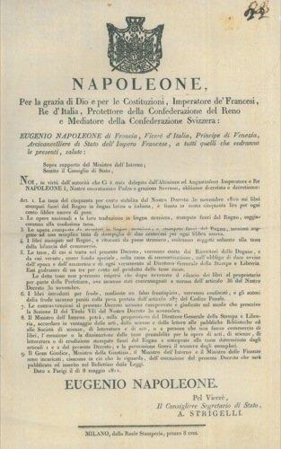 Stampato Leaf - Tassazione sui libri stampati fuori da Regno in lingua italiana o latina.