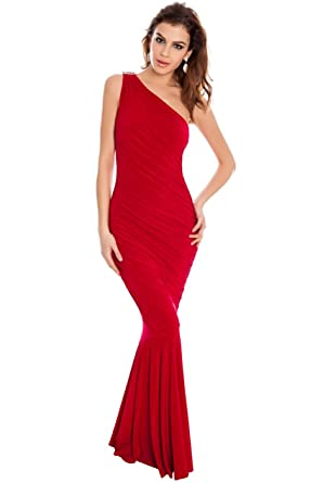 Blossoms Long Red Grecian Maxi Evening Fishtail Formal Dress Gown Size 8-14 Prom-